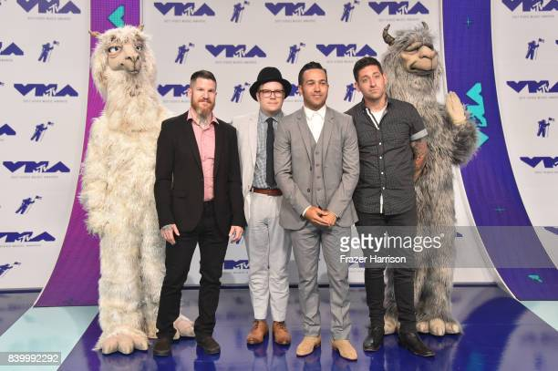 Andy Hurley Patrick Stump Pete Wentz and Joe Trohman of Fall Out Boy attend the 2017 MTV Video Music Awards at The Forum on August 27 2017 in...