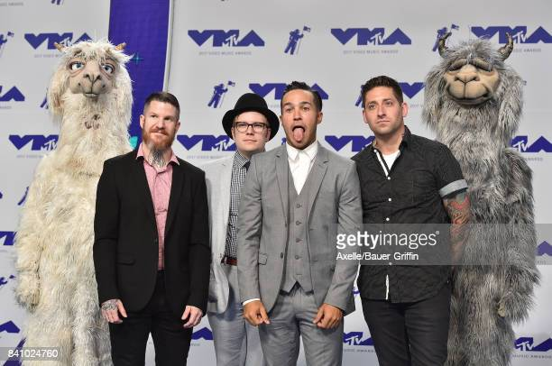 Andy Hurley Patrick Stump Pete Wentz and Joe Trohman of Fall Out Boy arrive at the 2017 MTV Video Music Awards at The Forum on August 27 2017 in...