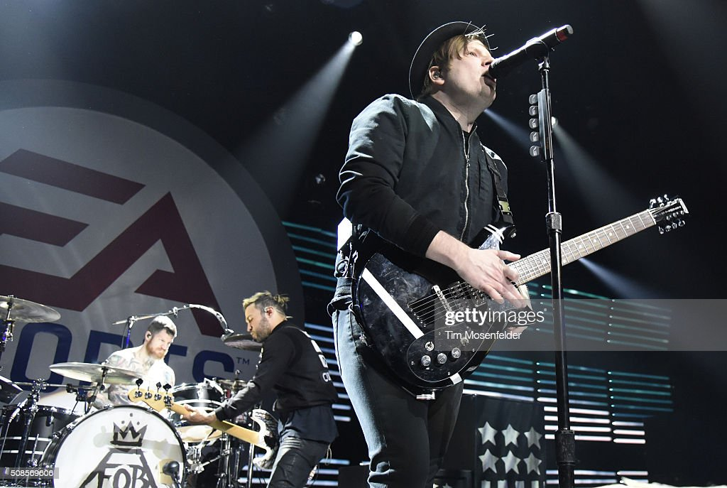 Andy Hurley Pete Wentz and Patrick Stump of Fall Out Boy perform during the EA SPORTS MADDEN NFL Madden Bowl XXII at Nob Hill Masonic Center on...