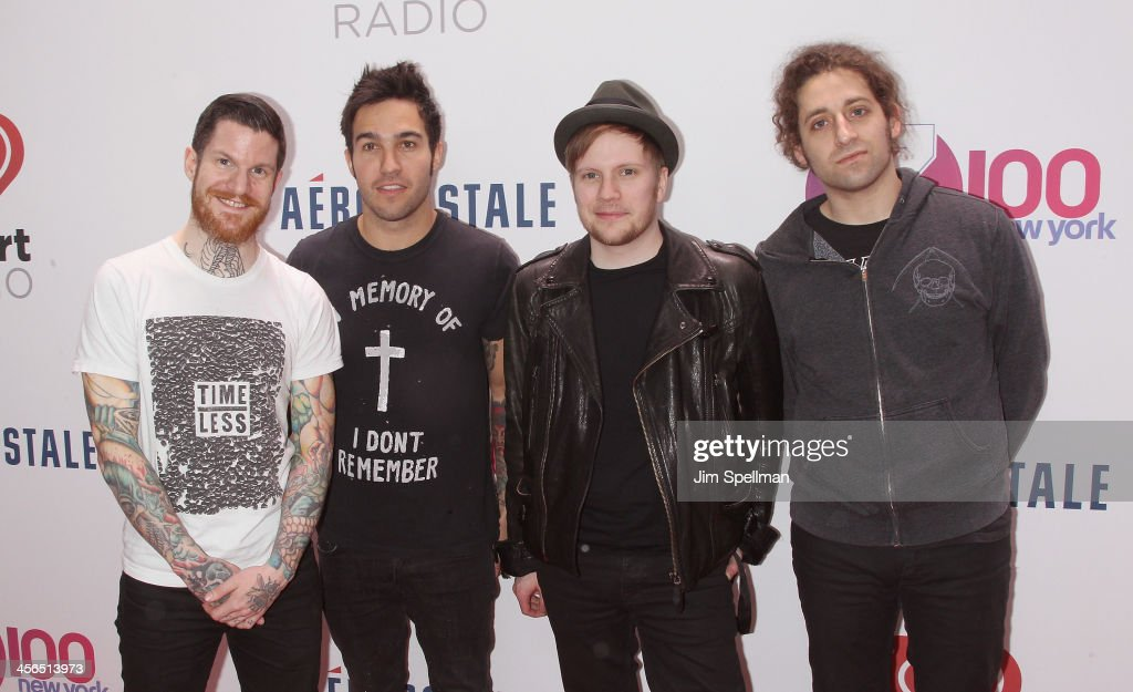 Andy Hurley, <a gi-track='captionPersonalityLinkClicked' href=/galleries/search?phrase=Pete+Wentz&family=editorial&specificpeople=595892 ng-click='$event.stopPropagation()'>Pete Wentz</a>, <a gi-track='captionPersonalityLinkClicked' href=/galleries/search?phrase=Patrick+Stump&family=editorial&specificpeople=557078 ng-click='$event.stopPropagation()'>Patrick Stump</a>, and <a gi-track='captionPersonalityLinkClicked' href=/galleries/search?phrase=Joe+Trohman&family=editorial&specificpeople=557077 ng-click='$event.stopPropagation()'>Joe Trohman</a> of Fall out Boy attend Z100's Jingle Ball 2013 at Madison Square Garden on December 13, 2013 in New York City.