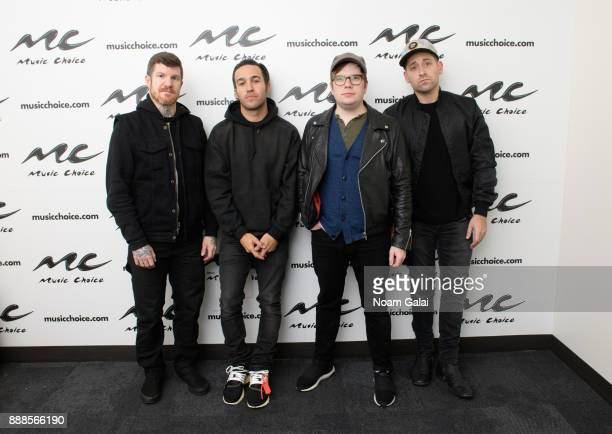 Andy Hurley Pete Wentz Patrick Stump and Joe Trohman of Fall Out Boy visit Music Choice on December 8 2017 in New York City