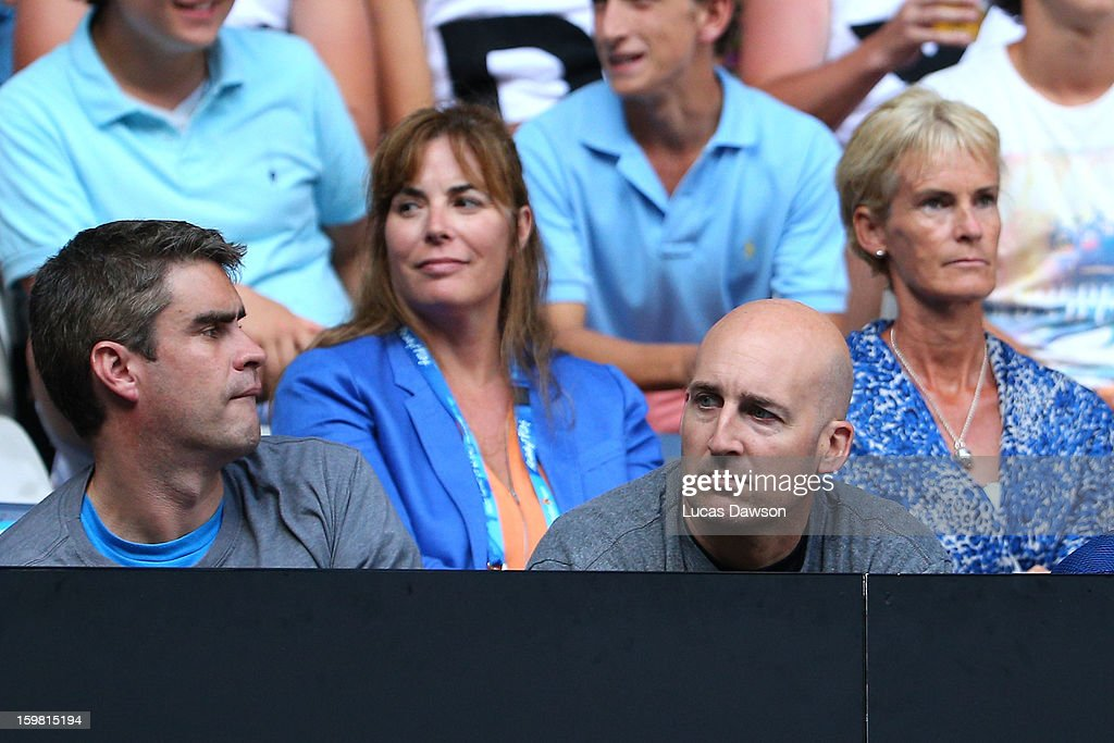 Andy Ireland (L) and Jez Green (R) watch the fourth round match between Andy Murray of Great Britain and Gilles Simon of France during day eight of the 2013 Australian Open at Melbourne Park on January 21, 2013 in Melbourne, Australia.