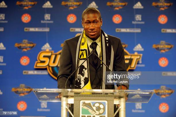Andy Iro after being selected 6th by the Colorado Crew in the MLS Super Draft on January 18 2008 at the Baltimore Convention Center in Baltimore...