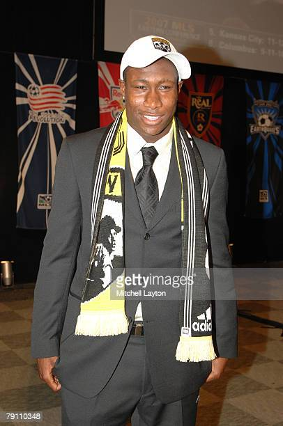 Andy Iro poses for photo after being selected sixth by the Columbus Crew in the MLS Super Draft on January 18 2008 at the Baltimore Convention Center...