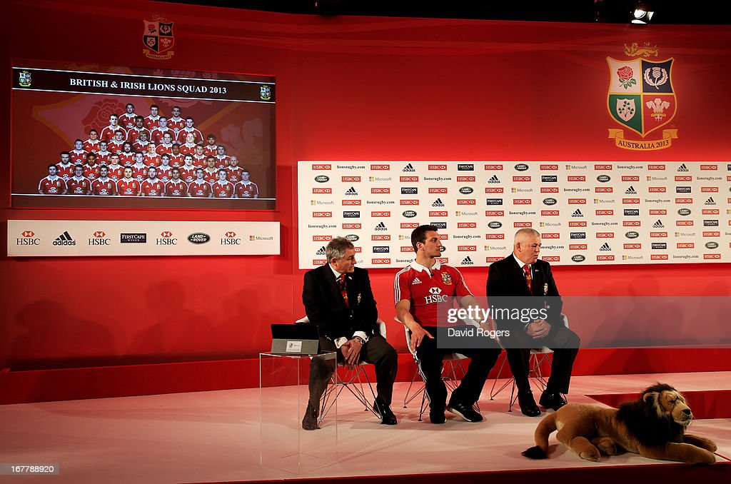Andy Irvine (Tour Manager), Sam Warburton (Captain) and Warren Gatland (Head Coach) look on during the 2013 British and Irish Lions tour squad and captain announcement at London Syon Park Hotel on April 30, 2013 in London, England.