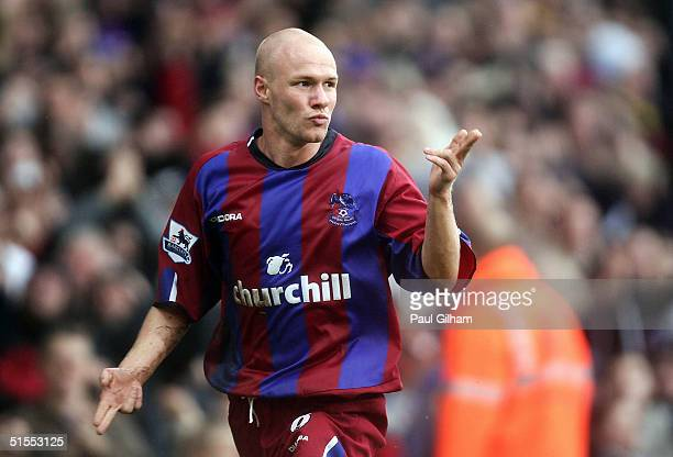 Andy Johnson of Crystal Palace celebrates scoring the second goal during the Barclays Premiership match between Crystal Palace and West Bromwich...