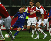 Andy Johnson of Everton shoots and scores his goal during the UEFA cup group A match between AZ Alkmaar and Everton at the DSB Stadion on December 20...