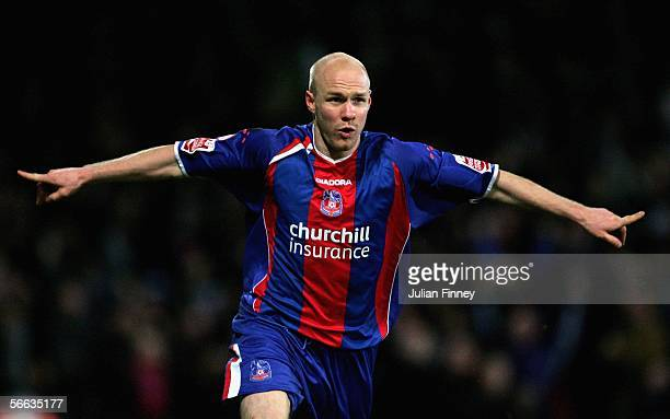 Andy Johnson of Palace celebrates scoring during the CocaCola Championship match between Crystal Palace and Reading at Selhurst Park on January 20...