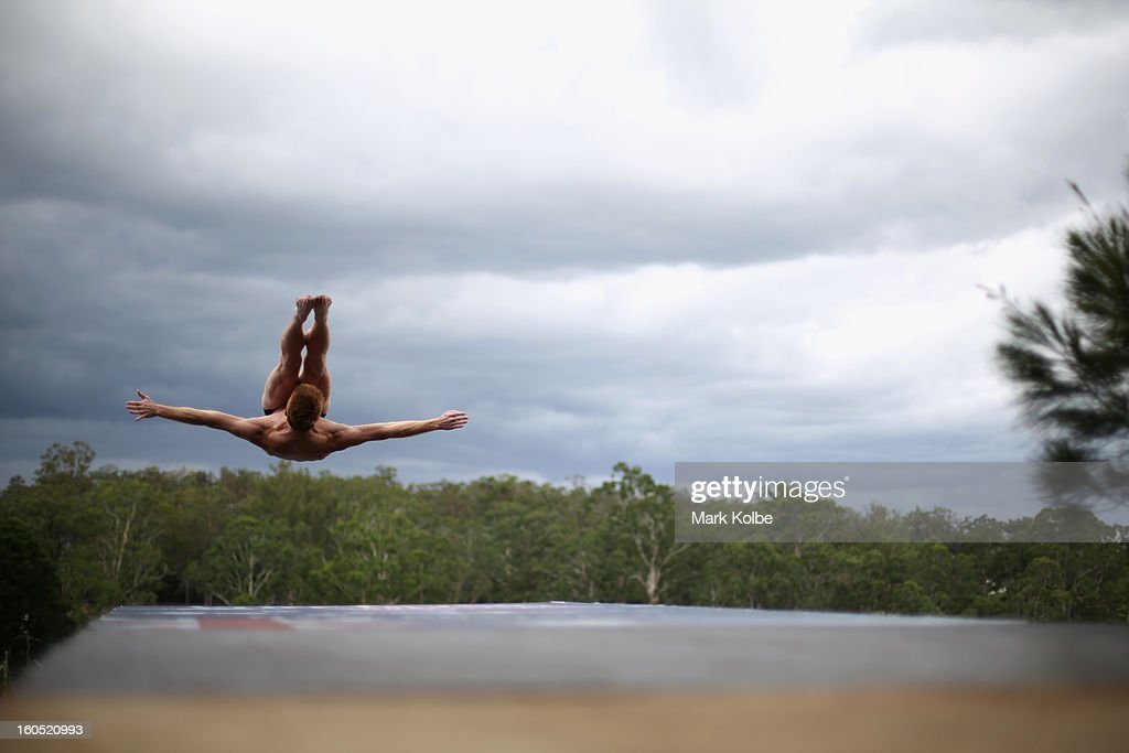 Andy Jones of the USA competes during the Red Bull Cliff Diving qualifying round in the Hawkesbury River on February 2, 2013 in Sydney, Australia.