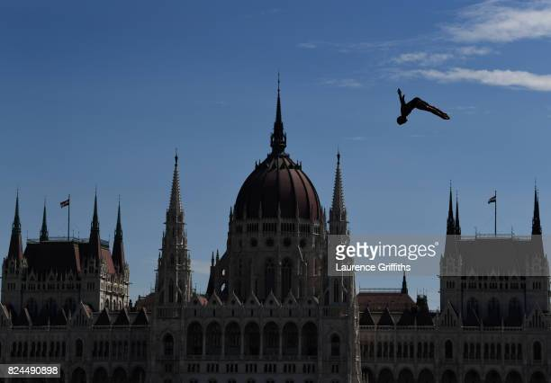 EDITOR NOTES Andy Jones of USA in action during the Men's High dive on day seventeen of the Budapest 2017 FINA World Championships on on July 30 2017...
