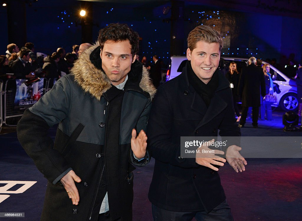 Andy Jordan (L) and Stevie Johnson attends the World Premiere of 'RoboCop' at the BFI IMAX on February 5, 2014 in London, England.