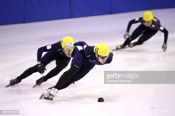 Andy Jung of Australia leads competitors during the Australian World Cup Short Track Trials on July 27 2017 at Canterbury Olympic Ice Rink in Sydney...