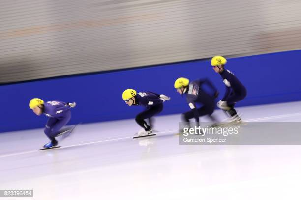 Andy Jung of Australia races during the Australian World Cup Short Track Trials on July 27 2017 at Canterbury Olympic Ice Rink in Sydney Australia