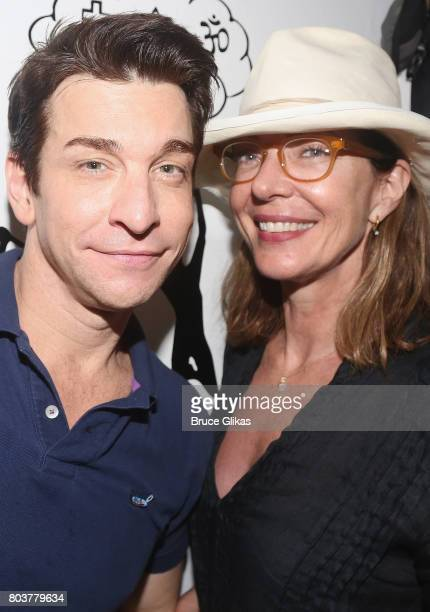 Andy Karl and Allison Janney pose backstage at the hit musical 'Groundhog Day' on Broadway at The August Wilson Theatre on June 29 2017 in New York...