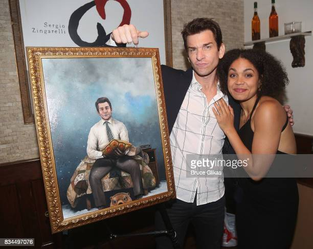 Andy Karl and costar Barrett Doss pose at the Broadway Wall of Fame unveiling to honor Andy Karl for his role in 'Groundhog Day' at Tony's di Napoli...