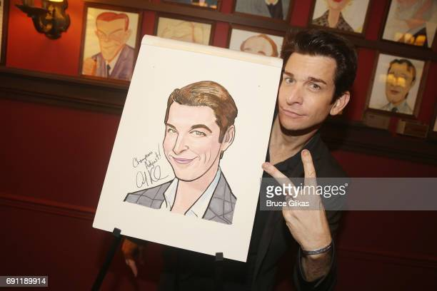 Andy Karl gets honored for his award winning peformance in 'Groundhog Day' with a caricature on the wall at Sardi's on May 31 2017 in New York City
