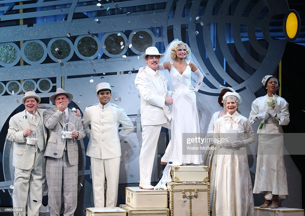 Andy Karl Michael McGrath Mark LinnBaker Peter Gallagher Kristin Chenoweth Mary Louise Wilson and the cast during the Opening Night Performance...