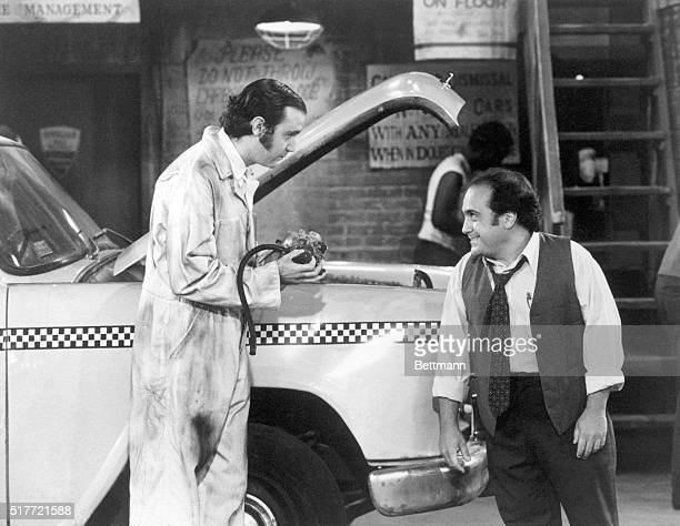 Andy Kaufman as Latka Gravis and Danny DeVito as Louie DePalma in a scene from Paramount Television's series Taxi