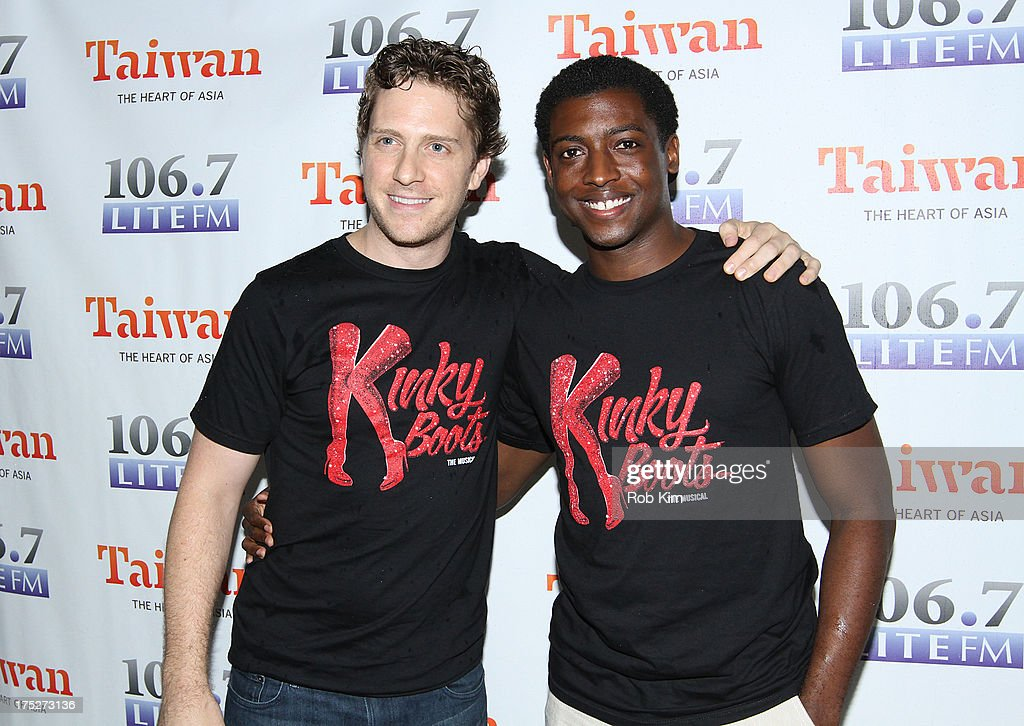 Andy Kelso (L) and Timothy Ware of 'Kinky Boots' attend 106.7 LITE FM's Broadway in Bryant Park 2013 at Bryant Park on August 1, 2013 in New York City.