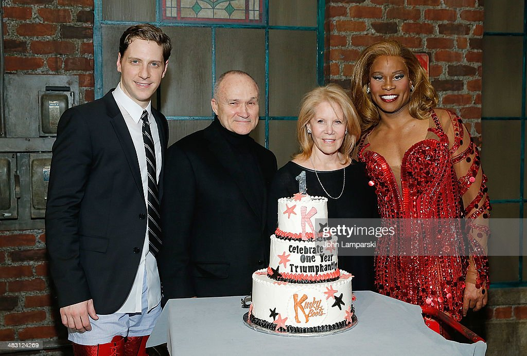 Andy Kelso, Former New York City Police Commissioner Raymond Kelly, Daryl Roth and Billy Porter attend 'Kinky Boots' one year anniversary on Broadway at The Hirshfeld Theatre on April 6, 2014 in New York City.