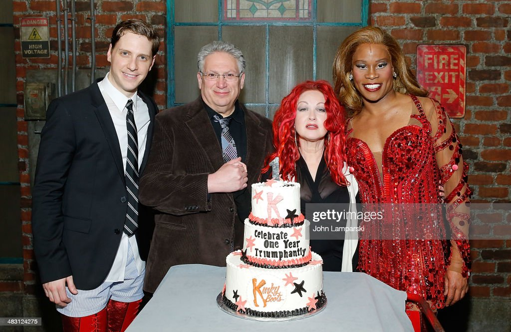 Andy Kelso, <a gi-track='captionPersonalityLinkClicked' href=/galleries/search?phrase=Harvey+Fierstein&family=editorial&specificpeople=206751 ng-click='$event.stopPropagation()'>Harvey Fierstein</a>, <a gi-track='captionPersonalityLinkClicked' href=/galleries/search?phrase=Cyndi+Lauper&family=editorial&specificpeople=171290 ng-click='$event.stopPropagation()'>Cyndi Lauper</a> and <a gi-track='captionPersonalityLinkClicked' href=/galleries/search?phrase=Billy+Porter&family=editorial&specificpeople=787592 ng-click='$event.stopPropagation()'>Billy Porter</a> attend 'Kinky Boots' one year anniversary on Broadway at The Hirshfeld Theatre on April 6, 2014 in New York City.