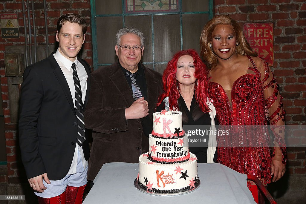Andy Kelso, <a gi-track='captionPersonalityLinkClicked' href=/galleries/search?phrase=Harvey+Fierstein&family=editorial&specificpeople=206751 ng-click='$event.stopPropagation()'>Harvey Fierstein</a>, <a gi-track='captionPersonalityLinkClicked' href=/galleries/search?phrase=Cyndi+Lauper&family=editorial&specificpeople=171290 ng-click='$event.stopPropagation()'>Cyndi Lauper</a>, and <a gi-track='captionPersonalityLinkClicked' href=/galleries/search?phrase=Billy+Porter&family=editorial&specificpeople=787592 ng-click='$event.stopPropagation()'>Billy Porter</a> attend the 'Kinky Boots' one year anniversary on Broadway at The Hirshfeld Theatre on April 6, 2014 in New York City.