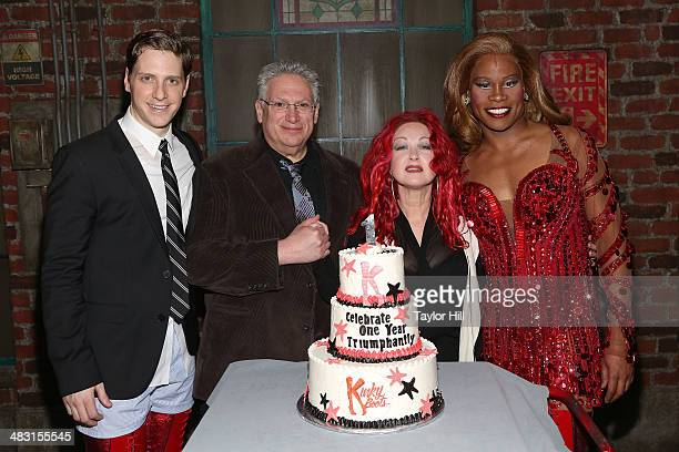 Andy Kelso Harvey Fierstein Cyndi Lauper and Billy Porter attend the 'Kinky Boots' one year anniversary on Broadway at The Hirshfeld Theatre on April...