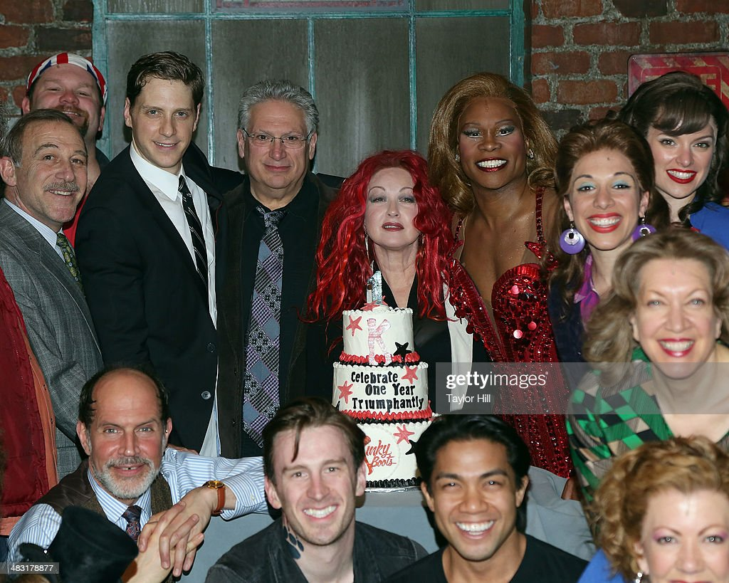 Andy Kelso, <a gi-track='captionPersonalityLinkClicked' href=/galleries/search?phrase=Harvey+Fierstein&family=editorial&specificpeople=206751 ng-click='$event.stopPropagation()'>Harvey Fierstein</a>, <a gi-track='captionPersonalityLinkClicked' href=/galleries/search?phrase=Cyndi+Lauper&family=editorial&specificpeople=171290 ng-click='$event.stopPropagation()'>Cyndi Lauper</a>, <a gi-track='captionPersonalityLinkClicked' href=/galleries/search?phrase=Billy+Porter&family=editorial&specificpeople=787592 ng-click='$event.stopPropagation()'>Billy Porter</a>, and cast attend the 'Kinky Boots' one year anniversary on Broadway at The Hirshfeld Theatre on April 6, 2014 in New York City.