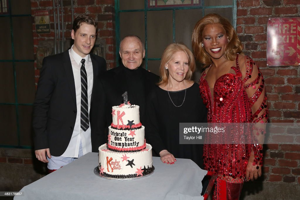 Andy Kelso, Ray Kelly, Daryl Roth, and Billy Porter attend the 'Kinky Boots' one year anniversary on Broadway at The Hirshfeld Theatre on April 6, 2014 in New York City.