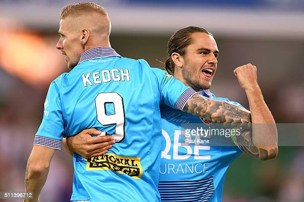 Andy Keogh and Josh Risdon of the Glory celebrate a goal during the round 20 ALeague match between the Perth Glory and Brisbane Roar at nib Stadium...