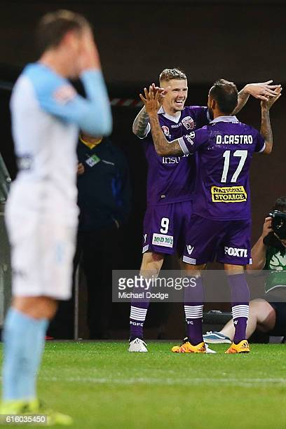 Andy Keogh of the Glory celebrates a goal Diego Castro of the Glory during the round three ALeague match between Melbourne City FC and Perth Glory at...