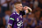 Andy Keogh of the Glory celebrates after scoring and breaking the alltime Australian national league record scoring streak during the round 26...