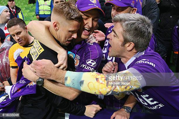 Andy Keogh of the Glory celebrates the win with fans during the round three ALeague match between Melbourne City FC and Perth Glory at AAMI Park on...