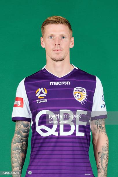 Andy Keogh poses during the Perth Glory 2017/18 ALeague season headshots session on September 15 2017 in Perth Australia
