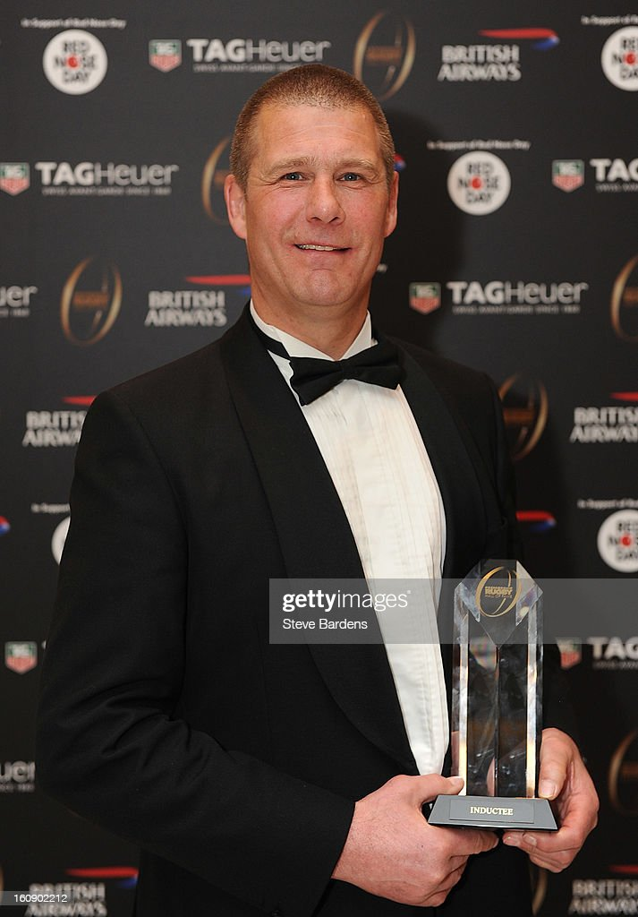 Andy Key is inducted into the Hall of Fame during the inaugural Premiership Rugby Hall of Fame Ball at the Hurlingham Club on February 7, 2013 in London, England.