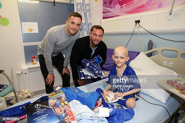 Andy King and Danny Drinkwater during the Leicester City Players Deliver Christmas Presents to Patients at Leicester Royal Infirmary on December 15...