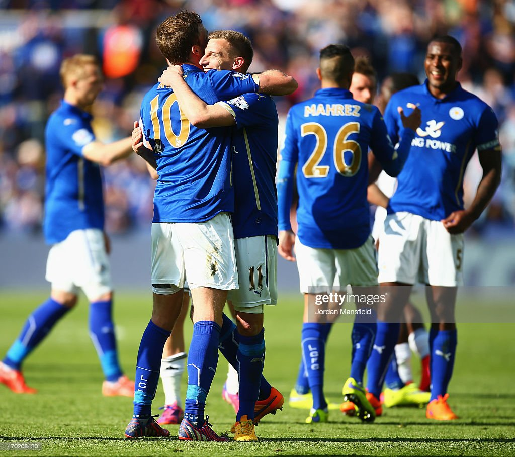 Andy King and Marc Albrighton of Leicester City celebrate after the Barclays Premier League match between Leicester City and Swansea City at The King Power Stadium on April 18, 2015 in Leicester, England.