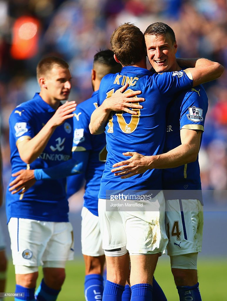 Andy King and Robert Huth of Leicester City celebrate victory after the Barclays Premier League match between Leicester City and Swansea City at The King Power Stadium on April 18, 2015 in Leicester, England.