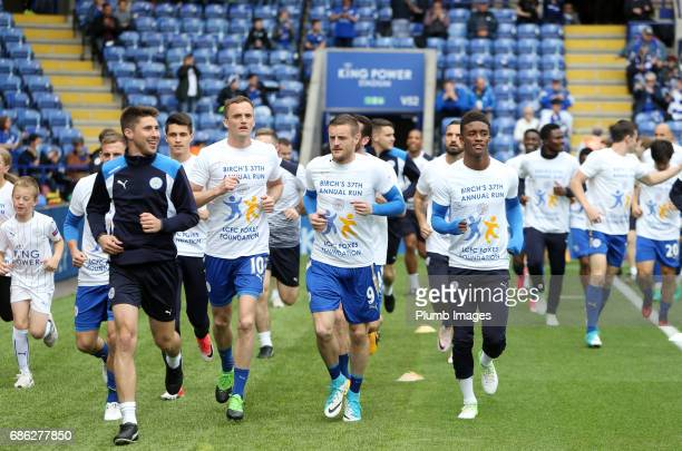 Andy King Jamie Vardy and Demarai Gray of Leicester City joins Leicester City Club Ambassador Alan Birchenall on his 37th Annual fun run for the...