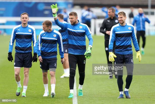 Andy King Marc Albrighton Ben Hamer and RonRobert Zieler of Leicester City during the Leicester City training session at Belvoir Drive Training...