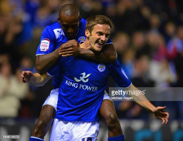 Andy King of Leicester celebrates scoring to make it 10 with team mate Lloyd Dyer during the nPower Championship match between Leicester City and...