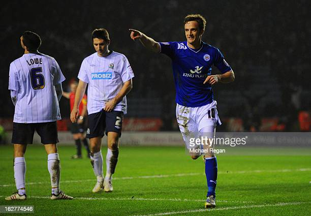 Andy King of Leicester celebrates scoring to make it 30 during the npower Championship match between Leicester City and Blackburn Rovers at The King...