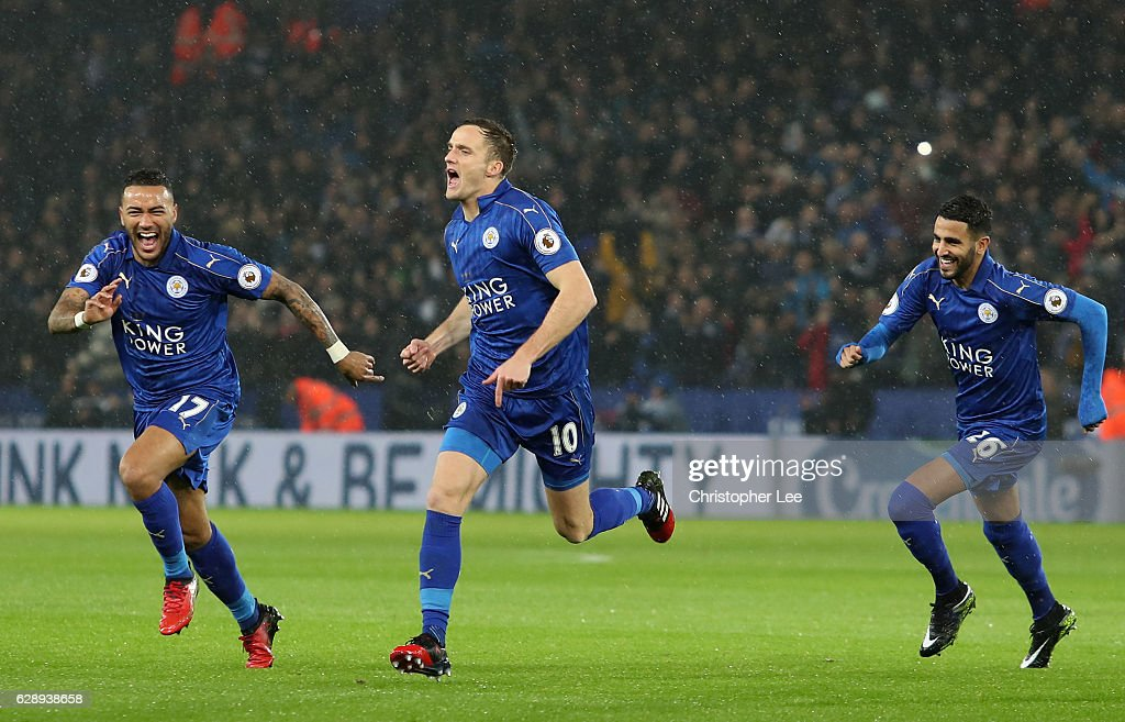 Andy King of Leicester City (C) celebrates scoring his sides second goal during the Premier League match between Leicester City and Manchester City at the King Power Stadium on December 10, 2016 in Leicester, England.