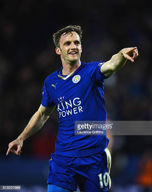 Andy King of Leicester City celebrates scoring his team's second goal during the Barclays Premier League match between Leicester City and West...