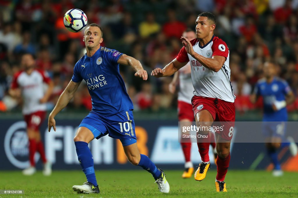 Andy King of Leicester City clashes with Jake Livermore of West Bromwich Albion during the Premier League Asia Trophy match between Leicester City and West Bromwich Albion at Hong Kong Stadium on July 19, 2017 in Hong Kong, Hong Kong.