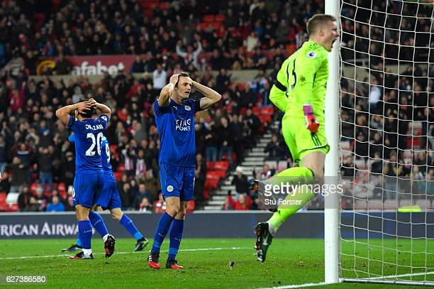 Andy King of Leicester City reacts after missing a chance during the Premier League match between Sunderland and Leicester City at Stadium of Light...