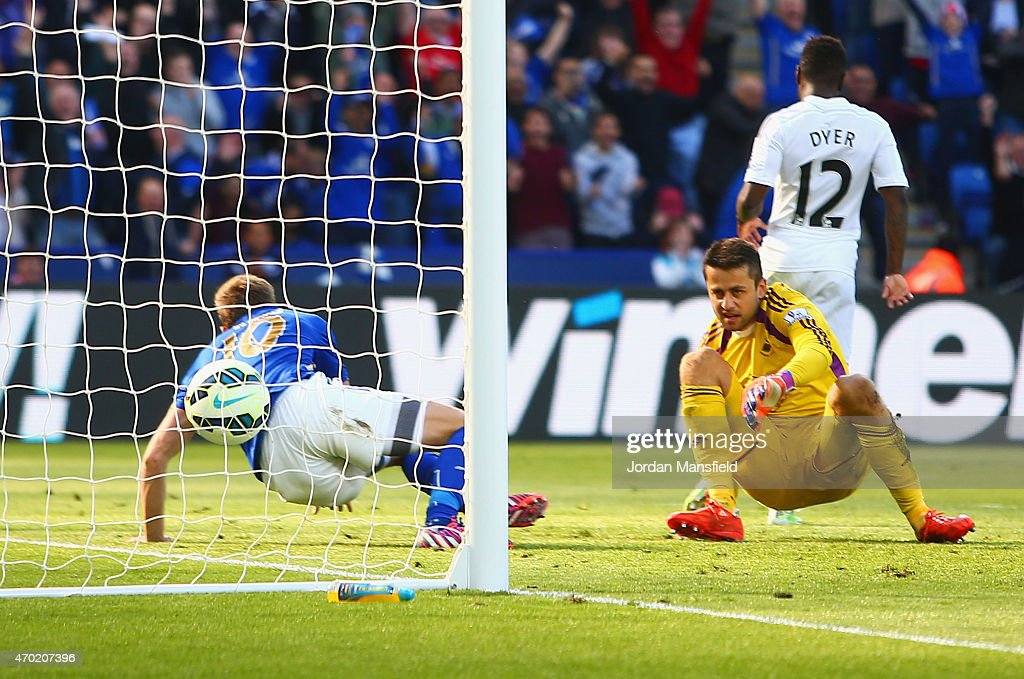 Andy King of Leicester City scores the second goal past Lukasz Fabianski of Swansea City during the Barclays Premier League match between Leicester City and Swansea City at The King Power Stadium on April 18, 2015 in Leicester, England.