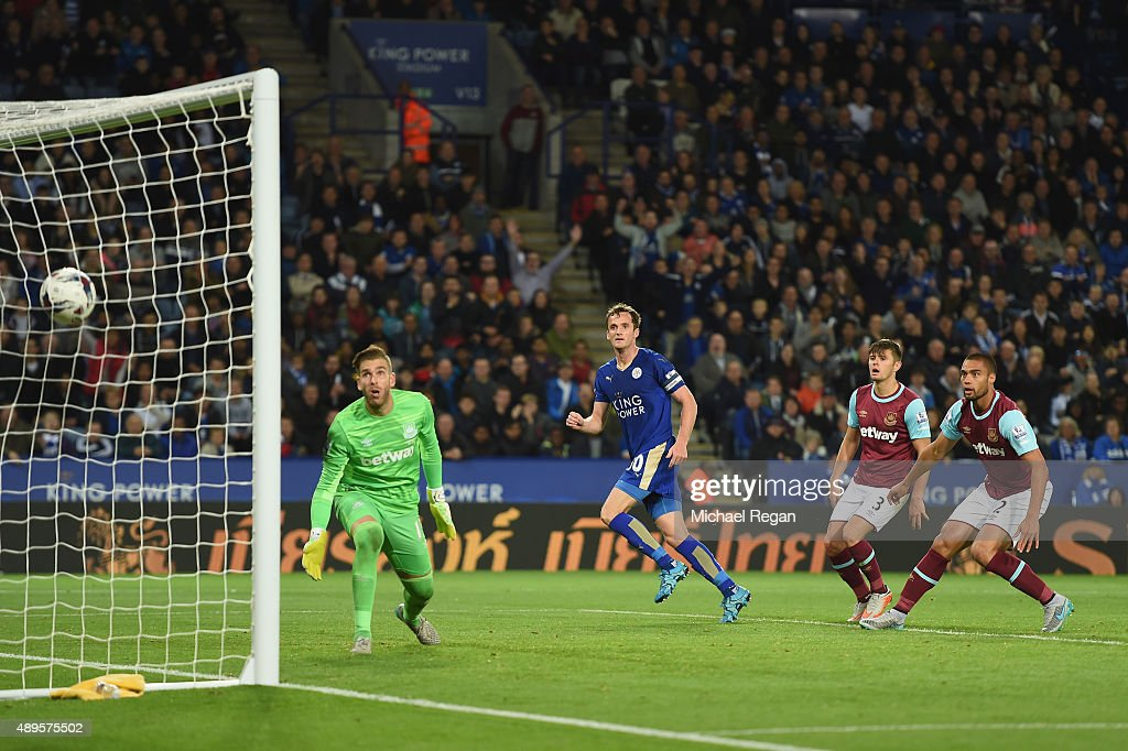 Andy King of Leicester scores to make it 21 during the Capital One Cup Third Round match between Leicester City and West Ham United at The King Power...