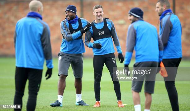 Andy King shares a joke with Wes Morgan during the Leicester City training session at Belvoir Drive Training Complex on November 17 2017 in Leicester...