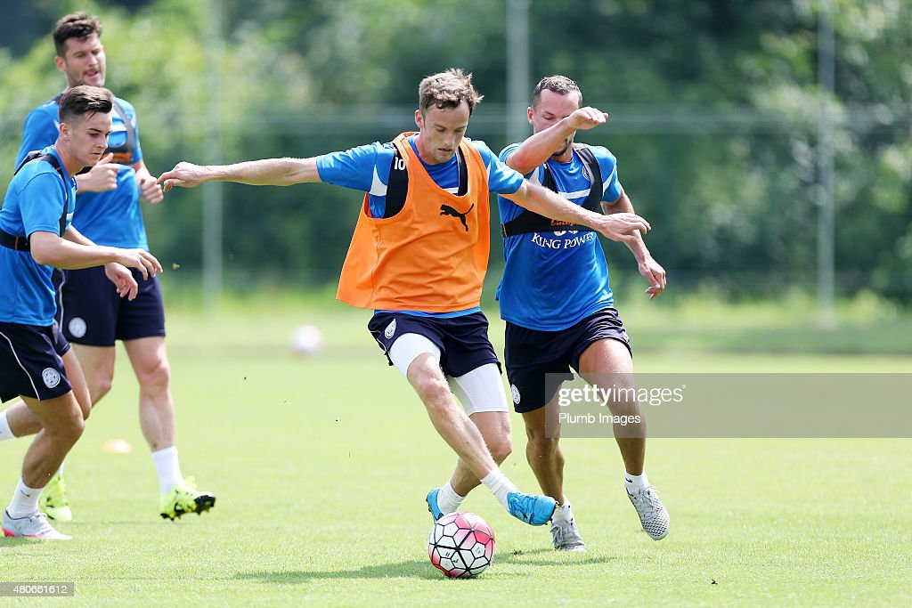 Andy King under pressure from Danny Drinkwater during the Leicester City training session at their pre-season training camp on July 14, 2015 in Spielfeld, Austria.